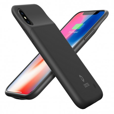 DESTEK iPhone X Battery Case Ultra-thin 3200mAh Rechargeable Portable Charging case External Battery Pack, Protective Charging Power Bank for iPhone X/10, Compatible with Wire Headphones (Black)